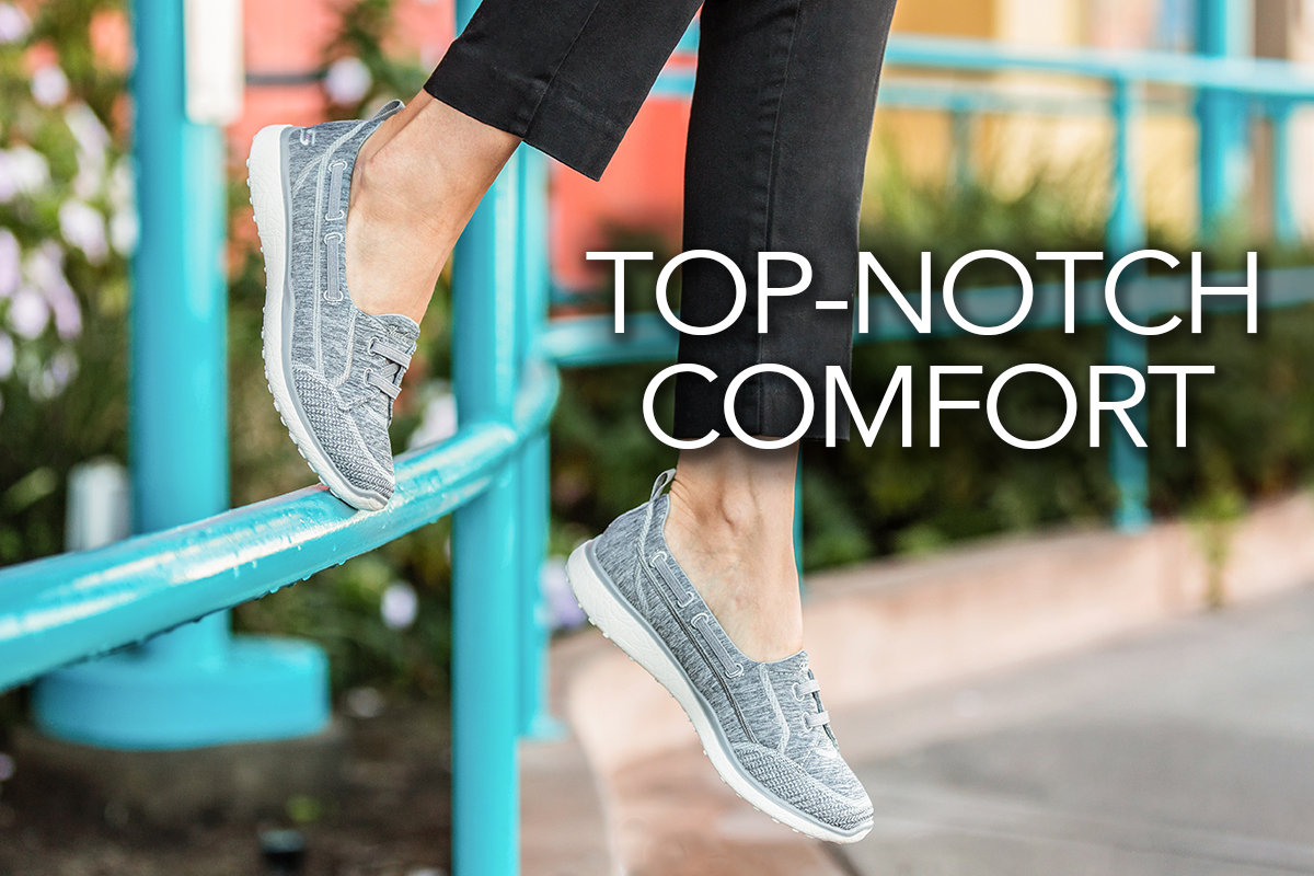 7963ccd82e79b FEMALE WEARING BLACK PANTS AND GRAY SKECHERS CASUAL SHOES. TOP-NOTCH  COMFORT  LINKS