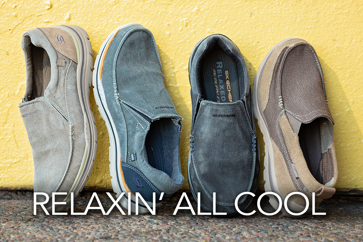 0ddd3679fefe3 MEN S SKECHERS CANVAS SHOES WITH A YELLOW BACKGROUND. RELAXIN  ALL COOL.  LINKS TO