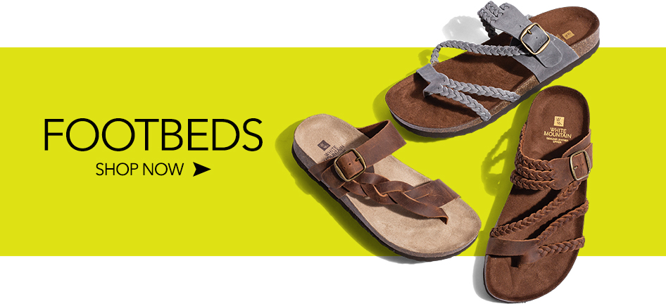 003b680c6 3 PAIR OF WOMEN S WHITE MOUNTAIN FOOTBED SANDALS SHOWN ON YELLOW  BACKGROUND. FOOTBEDS SHOP NOW