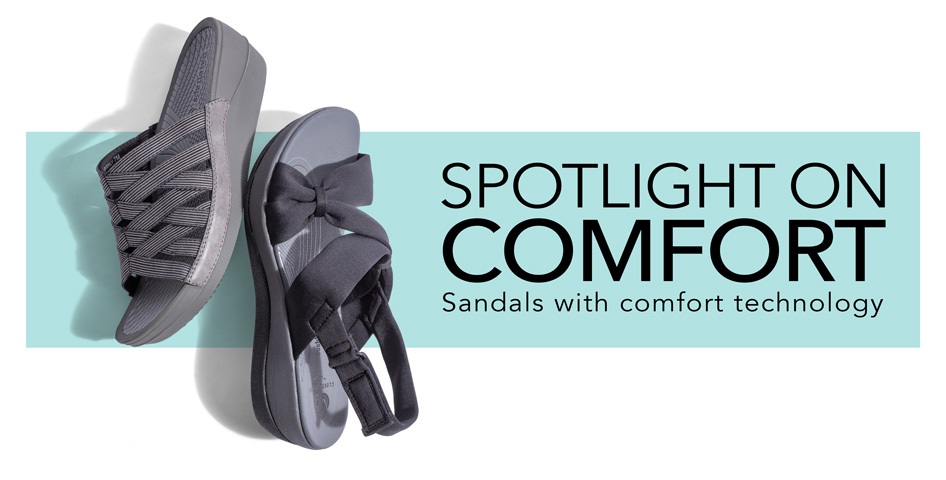 27f4a16de63146 SPOTLIGHT ON COMFORT. Sandals with comfort technology. Women s Clarks  Cloudsteppers sandals shown. Links