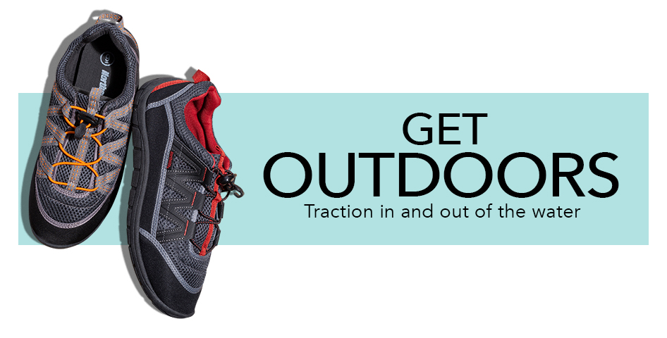 b5edd7589 GET OUTDOORS. Traction in and out of the water. Men's water shoes shown.